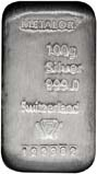 100g Silver Bar Metalor w/ Cert Pre-Owned 22305