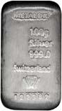 100g Silver Bar Metalor w/ Cert Pre-Owned 22305