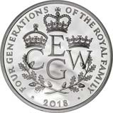 2018 UK Coin £5 / Crown Silver Proof Four Generations of Royalty 21842