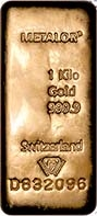 1 Kg Gold Bar Metalor New 20405