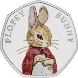 2018 UK Coin 50p Silver Proof Beatrix Potter - Flopsy Bunny 25044