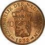 1932 Gold Netherlands 10 Guilders aUNC 24919