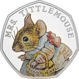 2018 UK Coin 50p Silver Proof Beatrix Potter - Mrs Tittlemouse 21308