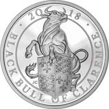 2018 1 oz Silver Coin Silver Proof Queen's Beasts - Black Bull of Clarence 20922