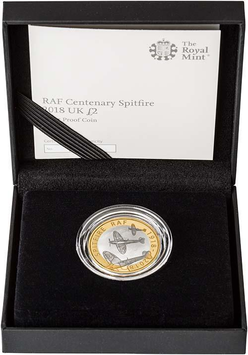 2018 UK Coin £2 Silver Proof RAF Centenary Spitfire 24556