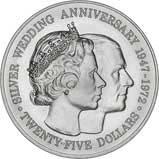 1972 Silver Cayman Islands Silver Wedding Anniversary $25 UNC 20643