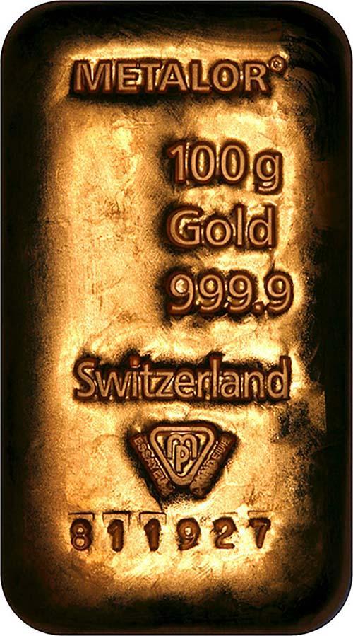 100g Gold Bar Our Choice Metalor New 23513