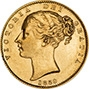 1859 Gold Sovereign Victoria Young Head Shield London aVF gVF Ansell 23427