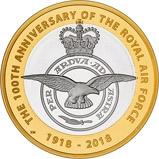 2018 UK Coin £2 Silver Proof Piedfort RAF Centenary Badge 23640
