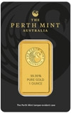 1 oz Gold Bar Perth Mint Kangaroo New 23053