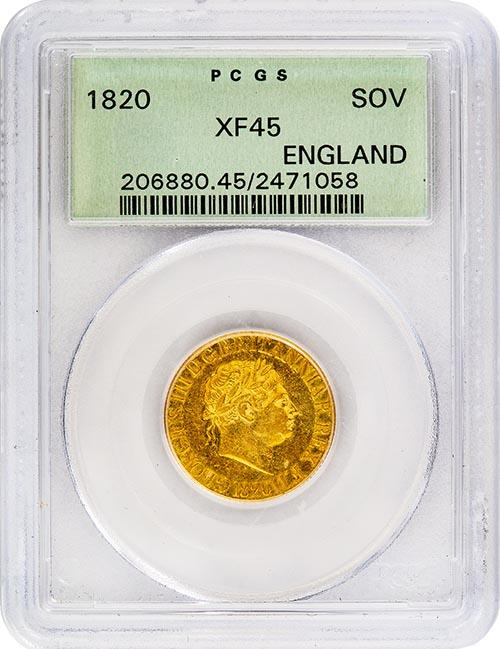 1820 Gold Sovereign George III XF-45 PCGS Slabbed 20519