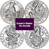 UK Coin Bundle £5 BU Queen's Beasts - 4 Coins 23891