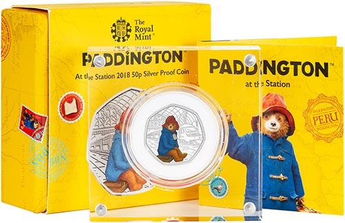 2018 UK Coin 50p Silver Proof Paddington Bear - Paddington Station 22640