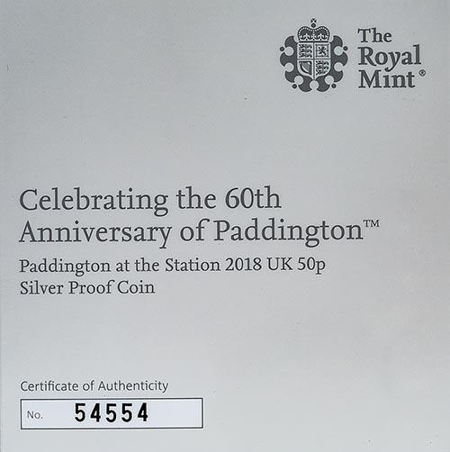 2018 UK Coin 50p Silver Proof Paddington Bear - Paddington Station 22641