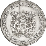 1992 Silver Medallion Royal Mint Millennium of the Office of High Sheriff 23350