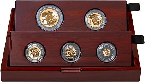 2019 5-Coin Gold Proof Sovereign Set Presentation Box