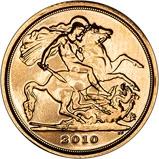 2010 Gold Quarter Sovereign Elizabeth II Bullion Reverse
