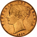 1869 Gold Sovereign Victoria Young Head Shield London 23332