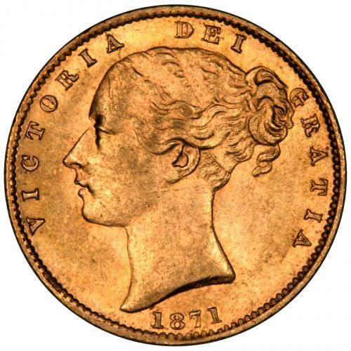 1871 Gold Sovereign Victoria Young Head Shield Sydney