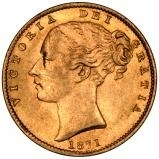 1871 Gold Sovereign Victoria Young Head Shield Sydney 24012