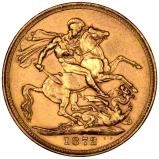 1872 Gold Sovereign Victoria Young Head St George London 22790