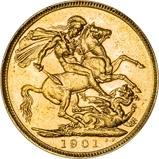 1901 Gold Sovereign Victoria Old Head Perth 21292