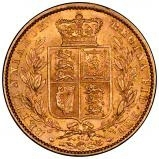 1864 Gold Sovereign Victoria Young Head Shield London 24433