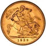 1929 Gold Sovereign George V Perth 20476