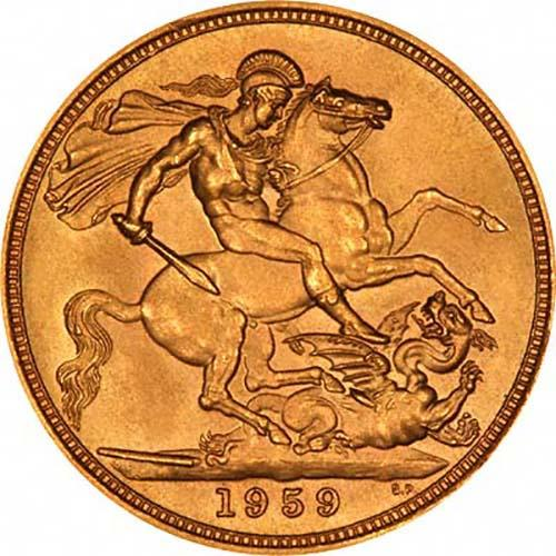 1959 Gold Sovereign Elizabeth II Royal Mint