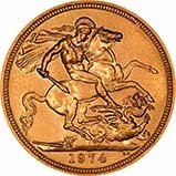 1974 Gold Full Sovereign Elizabeth II Royal Mint 21432