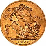 1927 Gold Sovereign George V South Africa 22852