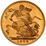1908 Gold Sovereign Edward VII London 25402