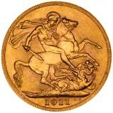 1911 Gold Sovereign George V Canada 23540