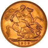1909 Gold Sovereign Edward VII London 21929
