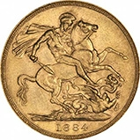 1884 Gold Sovereign Victoria Young Head St George London 22118
