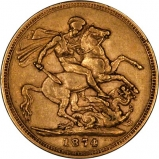 1874 Gold Sovereign Victoria Young Head St George Sydney Reverse