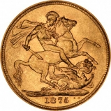 1875 Gold Sovereign Victoria Young Head St George Sydney Reverse