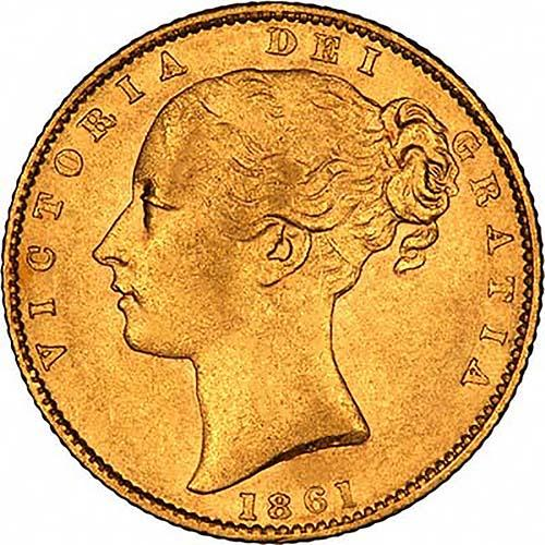 1861 Gold Sovereign Victoria Young Head Shield London