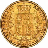 1861 Gold Sovereign Victoria Young Head Shield London 25228