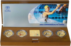 2002 Silver Proof Piedfort Commonwealth Games £2 Four Coin Set Presentation Box