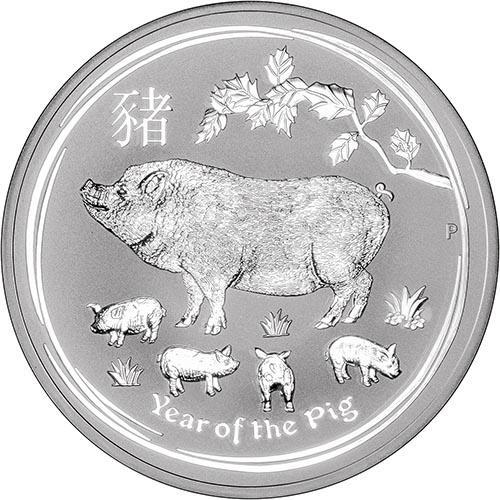 2019 10 oz Silver Coin Lunar Year of the Pig Perth Mint Bullion 21689