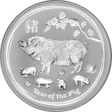 2019 5 oz Silver Coin Lunar Year of the Pig Perth Mint Bullion 22584