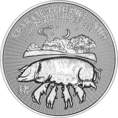 2019 1 oz Silver Coin Lunar Year of the Pig Royal Mint Bullion Reverse