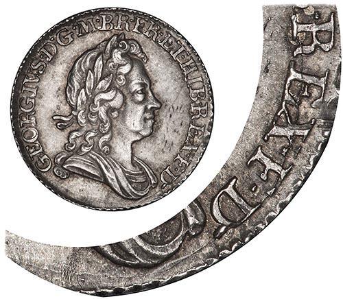 1723 George I Sixpence Die Crack gVF/aEF 21656