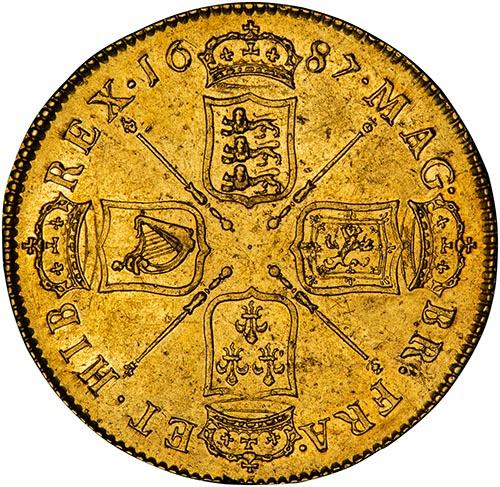 1687 Gold 5 Guinea Coin James II gVF 20760