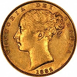 1882 Gold Sovereign Victoria Young Head Shield Sydney 22037