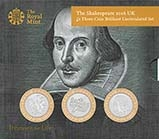 2016 Whole Coin Set UK Two Pounds (£2)  BU 400th Anniversary of the Death of Shakespeare 25257