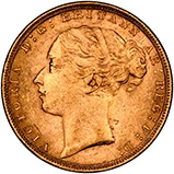 1880 Gold Graded Sovereign Victoria Young Head St George London Mint Overdate 21199