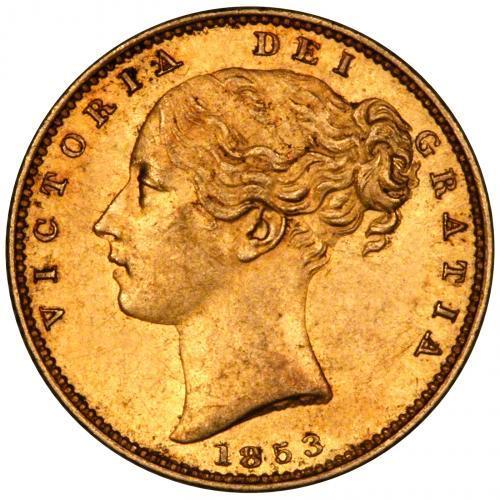 1853 Gold Sovereign Victoria Young Head Shield London