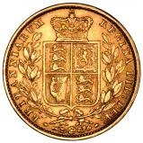 1853 Gold Sovereign Victoria Young Head Shield London 22255